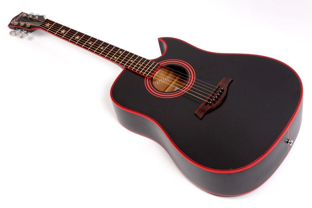 Lindo Black Widow Acoustic Guitar Red Binding Strings