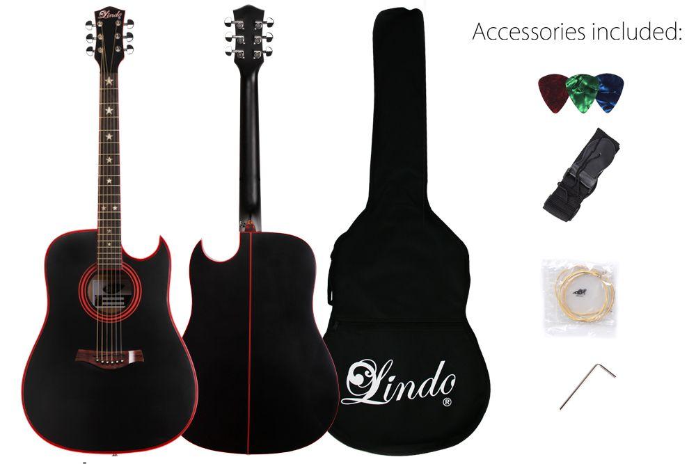 Lindo Black Widow Acoustic Guitar Red Binding + Strings