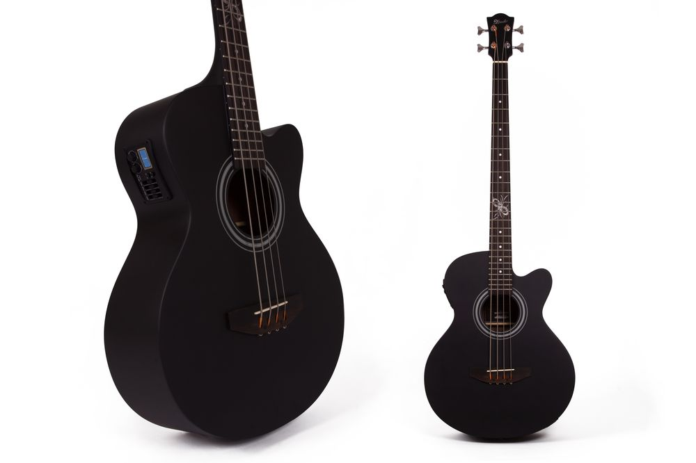 lindo black satin spruce top electro electric acoustic bass guitar with eq ebay. Black Bedroom Furniture Sets. Home Design Ideas