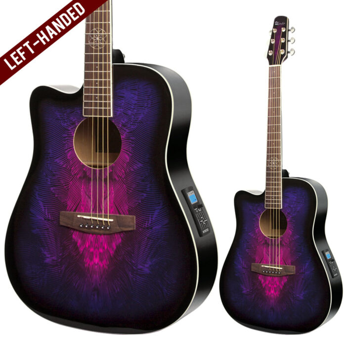 Lindo Left Handed Swallow Electro Acoustic Guitar and Padded Gigbag - Purple