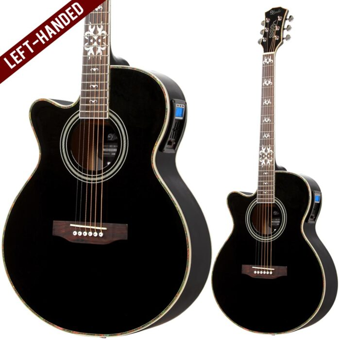 Lindo Left Handed Black Fire Electro Acoustic Guitar and Padded Gig Bag