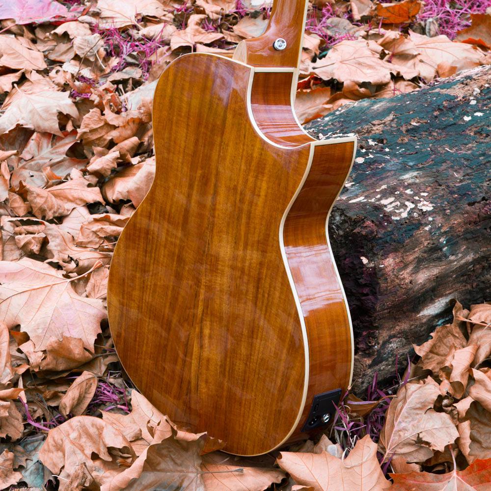 Lindo Left Handed Dandelion Pink Electro Acoustic Guitar BS5M Blend Preamp Padded Gig Bag