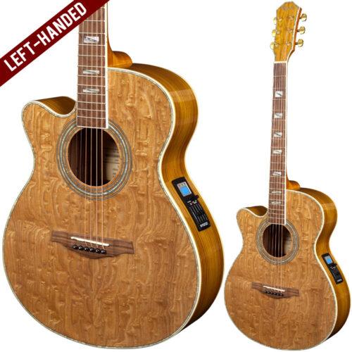 Lindo Left Handed PBEQ Piebald Burl Ash Electro Acoustic Guitar and Padded Gigbag