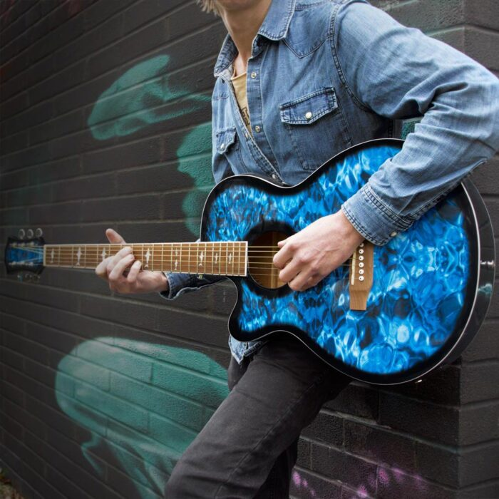 Lindo Left Handed Shark Electro Acoustic Guitar and Padded Gigbag – Blue