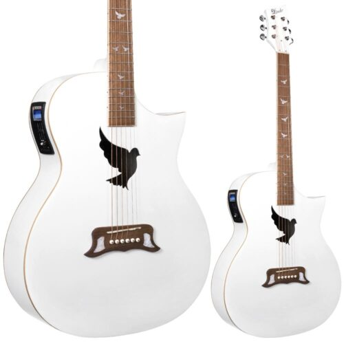 Lindo White Dove V2 Electro Acoustic Guitar with Preamp and Padded Gigbag
