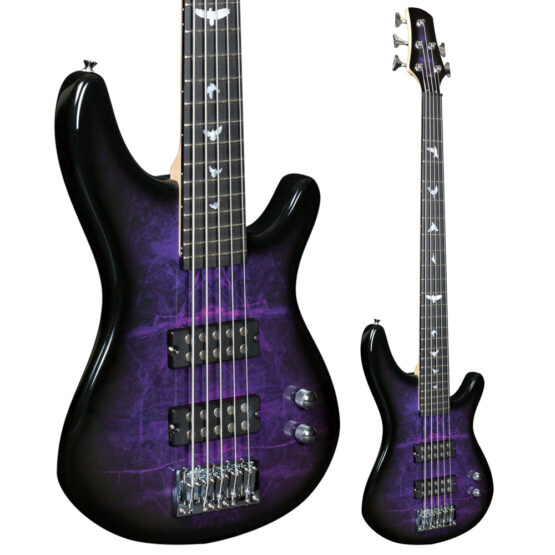 Lindo PDB 5-String Purple Dove Electric Bass Guitar Full View