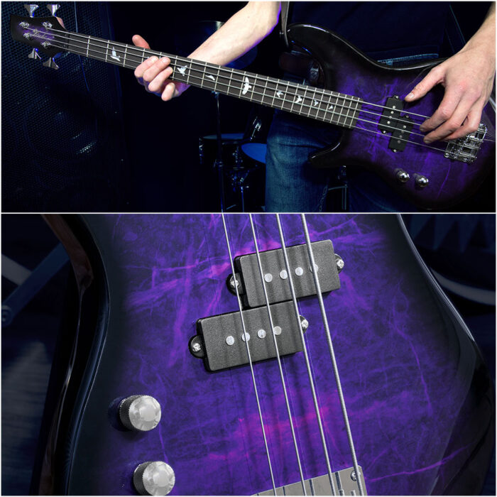 Lindo Left Handed PDB Short Scale Purple Dove Electric Bass Guitar And Hard Case