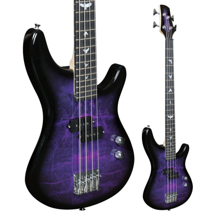 Lindo PDB Short Scale Purple Dove Electric Bass Guitar And Hard Case