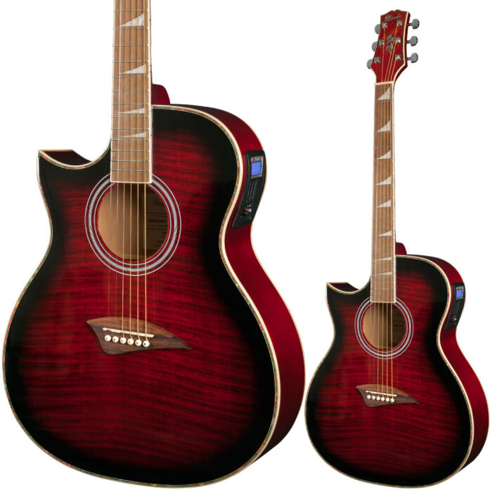 Lindo Left Handed ORG Regular Red Gloss Electro-Acoustic Guitar and Padded Gig Bag