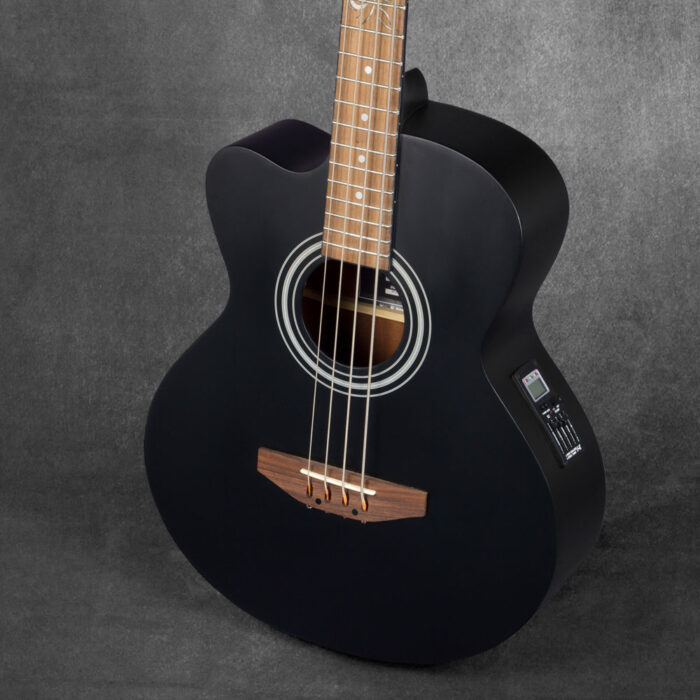 Lindo Left Handed Black Matte ACB Electro Acoustic Bass Guitar and Padded Gigbag